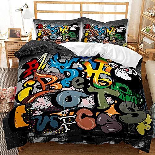 LIYIMING Juego de ropa de cama Hippie Graffiti estilo Teens Hip Hop Rock Musical Juego de funda nórdica para niños, diseño de graffiti (03,135 x 200 cm + 80 x 80 cm x 2)