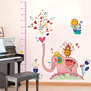 Dingyali 3D Wall Sticker Cartoon Elephant Height Measurement Wall Stickers for Kids Room Child Growth Chart Bedroom Living Room DIY Decorative Wall Decal
