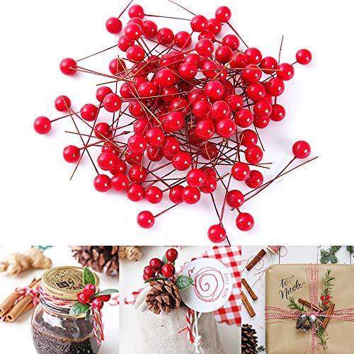 Lifreer 200 bayas rojas de Navidad mini bayas de acebo artificiales de Navidad para decoración de árbol de Navidad, corona de flores, uso artesanal