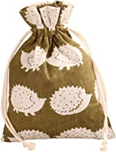 TooGet 12PCS Double Drawstring Cotton Linen Jute Cloth Sack Muslin Bags Favor Wedding Gift Jewelry Candy Bags Packing 5x6.7 Inch(Hedgehog)