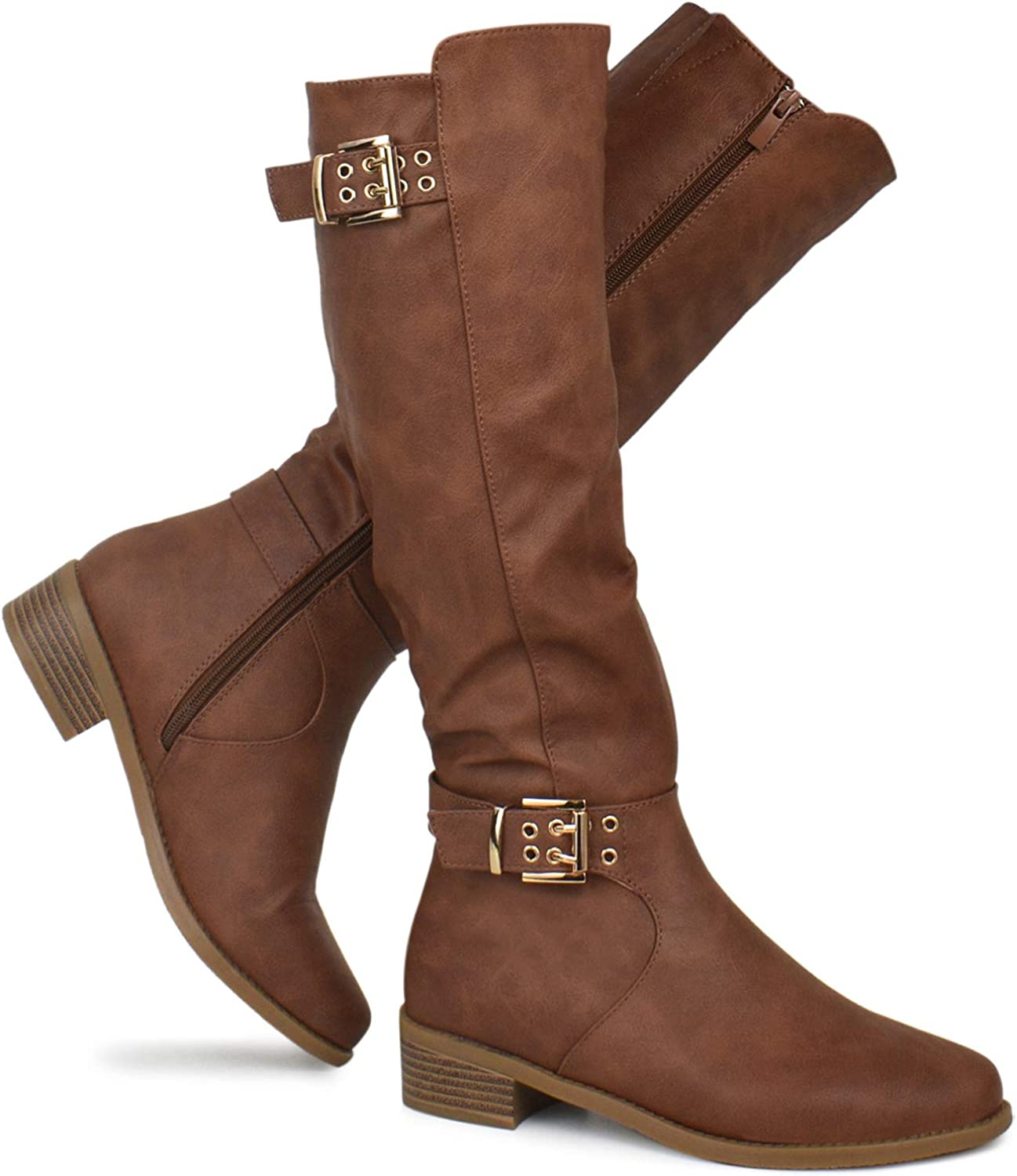 Premier Standard - Strappy Buckle Knee High Boots - Comfortable Zipper Low Stacked Heel Boots