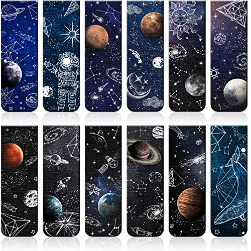 12 Pieces Magnetic Bookmarks Space Roaming Bookmarks Magnetic Page Clip Space Assorted Book Markers Set for Students Reading, 12 Styles