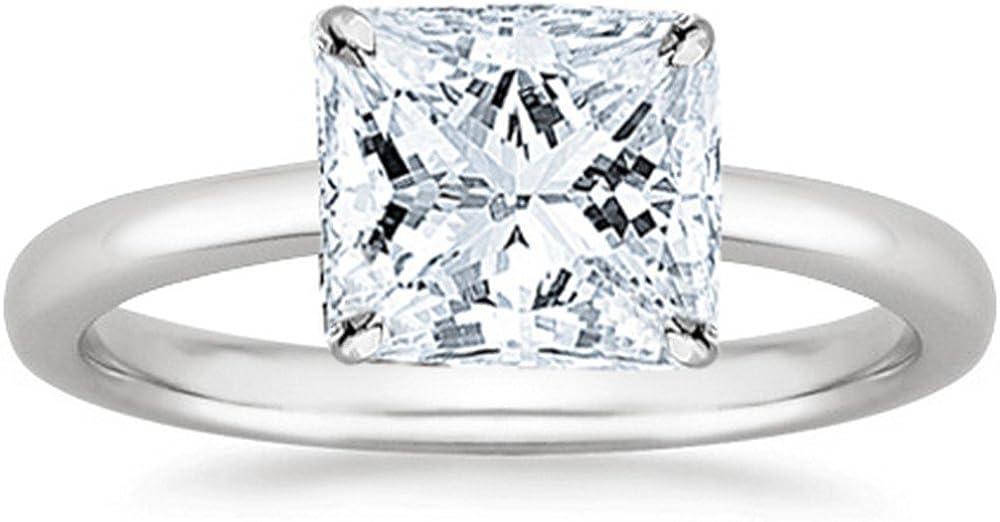 1/3 Carat Princess Cut Diamond Solitaire Engagement Ring 14K White Gold (J, VS2-SI1, 0.33 c.t.w) Very Good Cut
