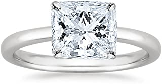 1 Carat GIA Certified 18K White Gold Solitaire Princess Cut Diamond Engagement Ring (1 Ct I-J Color, I1 Clarity)