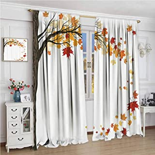GUUVOR Fall Decorations Room Darkened Heat Insulation Curtain Leaf Group Motion in Mother Earth Transition from Summer to Winter Decor Living Room W108 x L84 Inch Brown Orange
