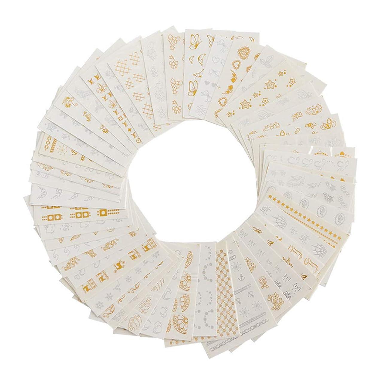 クラブ支援他の場所ネイルホイル ゴールド シルバー 羽毛ネイルステッカー ウォーターネイルシール ネイルアート デコレーション パーツ 30枚セット