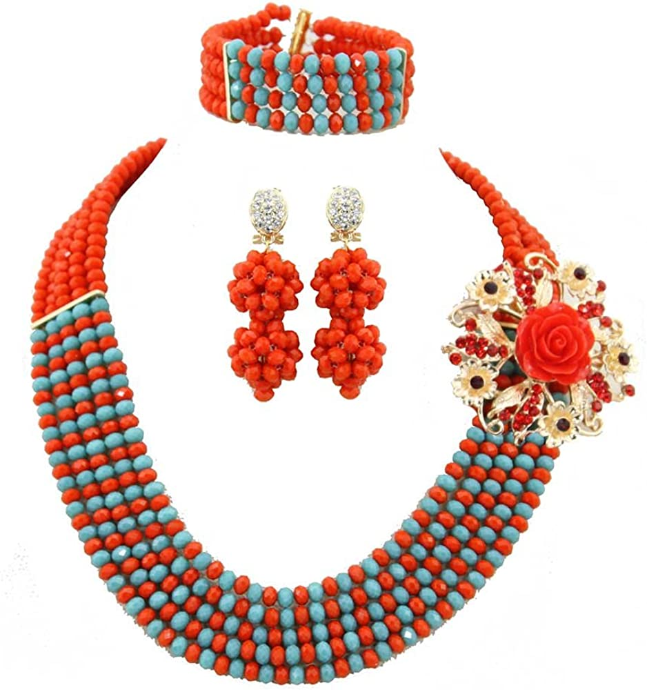 Africanbeads 6mm 5Rows Orange Handmade Max 49% OFF Jewelry African Ranking TOP1 S Wedding