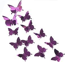 Jihan 12 stuks 3D vlinderdecoraties PET-spiegel vlinder stickers wandtattoo, muurstickers voor kinderkamer afneembare wand...