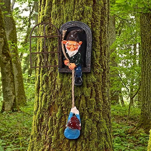 Statua di Gnomo in Resina da Giardino Elfo Fuori della Porta Abbracciatore di Alberi Peeker da Giardino Arte del Cortile Scultura Gnomi Rampicanti Albero per Patio Casa Prato Giardino