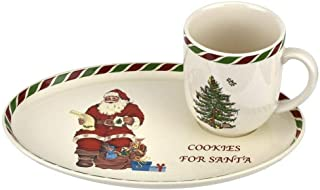 Spode Christmas Tree Candy Cane Cookies for Santa Mug & Tray Set (Green/Multi)
