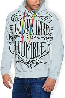GULTMEE Men's Hoodies Sweatershirt, Work Hard Stay Humble Motivational Words Theme Inspirational Display,5 Size