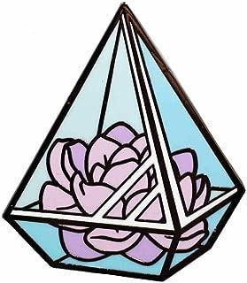 Neurotic Sphynx Succulent Plant Pyramid Crystal Glass Terrarium Enamel Pin