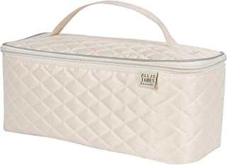 Ellis James Designs Large Travel Makeup Bag Organizer - Cosmetic Train Case Toiletry Bags for Women - Cream - With Handle & Make Up Brush Holders - Professional Hair Dryer Cases & Beauty Storage