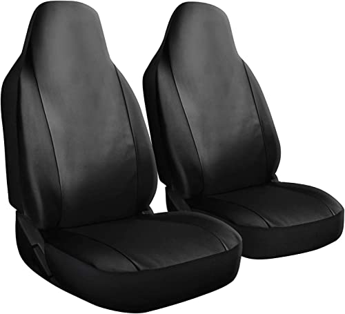2021 OxGord Car sale Seat Cover - PU Leather Solid Black with Front Low Bucket Seat - Universal Fit 2021 for Cars, Trucks, SUVs, Vans - 2 pc Set online sale