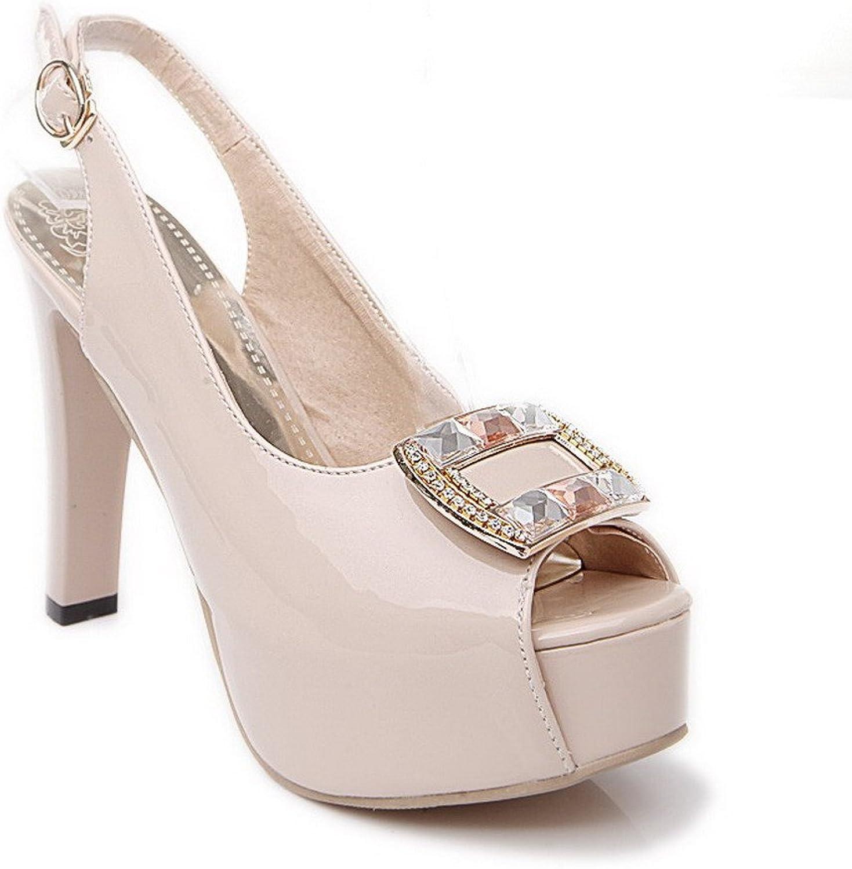 AllhqFashion Women's Buckle Solid Peep Toe High Heels PU Sandals