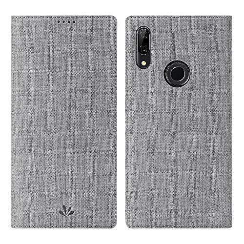 P Smart Z Hülle,P Smart Z Wallet Handyhülle PU Leder Flip Case Tasche Cover Schutzhülle mit [Standfunktion][Magnetic Closure][Card Slots] für Huawei P Smart Z Smartphone,Grau