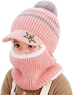 AMAZACER Baby Winter Warm Hat Scarf Toddler Girls Boys Ear Flaps Hood Balaclava Kids Fleece Lining Knit Pompom Beanie Hat with Visor Ski Snow Caps for 1-5 Years (Color : Pink)