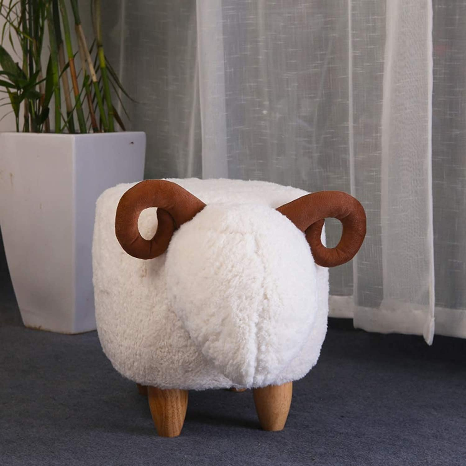 TENCMG Footstool Stool Storage, Changing shoes, Solid Wood, Creative, Sheep Modeling Decorative Furniture,Bwhite,63x33x36cm