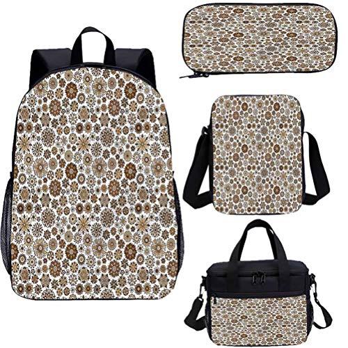 Juego de mochila escolar y bolsa de almuerzo de jardín de 17 pulgadas, diseño de flores de Doodle 4 en 1 conjuntos de mochila