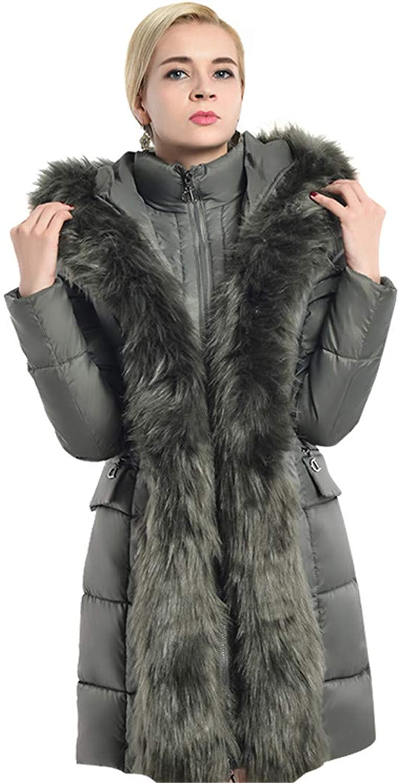 COUTUDI Women Winter Coats Luxurious Long Hooded Parka with Detachable Fax Fur