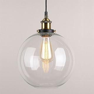 Huahan Haituo colgante luz Vintage Industrial Metal acabado cristal la bola de cristal redonda sombra Loft colgante Lámpara Retro Lamp Vintage luz de techo (Transparente,20CM)
