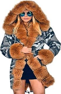 Dainzuy Women Thicken Warm Camouflage Parkas Fashion Skiing Faux Fur Winter Coat Hooded Outwear Jacket