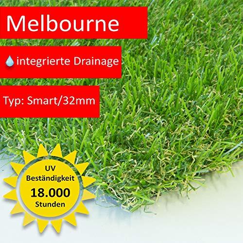 Steffensmeier Zuschnitt Kunstrasen Kunststoffrasen Melbourne | mit Drainage für Balkon, Terrasse, Garten | UV beständig in Grün, Größe: 133x300 cm