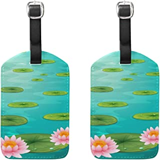 MASSIKOA Two Lotus Flowers and Leaves On Water Cruise Luggage Tags Suitcase Labels Bag,2 Pack