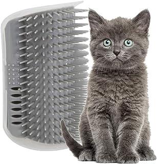 Pamura - Cat Cuddle Corner - Katzen Zubehör - Katzen Massage Ecke - Katzenbürste zur Fellpflege - inkl. Montagematerial - inkl. Katzenminze & Fach für Katzenminze
