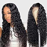 Water Wave Wig 4X4 Lace front Wigs Human Hair Pre Plucked with Baby Hair Wet and Wavy Wigs Curly human hair Wigs Glueless Lace Closure Wigs for Black Women(24inch, Natural Color)