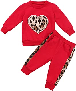 Toddler Baby Girl Fall Winter Clothes Leopard Heart Long Sleeve Tops Legging Pants Tracksuit Sweatsuit 2Pcs Outfit Set(A-R...