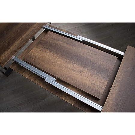 Itamoby Table extensible Tecno Evolution 120->224 cm, plateau en noyer et cadre en anthracite 120 x 90 x 77 cm (L x P x H), (extensible jusqu'à 224 cm avec deux rallonges)
