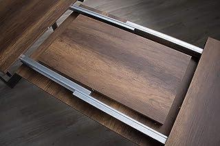 Itamoby Table extensible Tecno Evolution 120->224 cm, plateau en noyer et cadre en anthracite 120 x 90 x 77 cm (L x P x ...