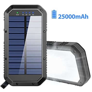 Solar Charger, 25000mAh Battery Solar Power Bank Portable Charger with 36 LEDs and 3 USB Output Ports External Backup Battery for Camping Outdoor for iOS Android (Black)