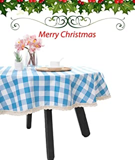Nobildonna 55Inch Gingham Checkered Tablecloth, Blue & White Checker, Round Lace Polyester Tablecloth