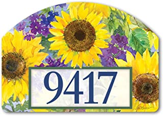 Yard DeSigns Studio M Sunflower Burst Spring Summer Floral Decorative Address Marker Yard Sign Magnet, Made in USA, Superior Weather Durability, 14 x 10 Inches