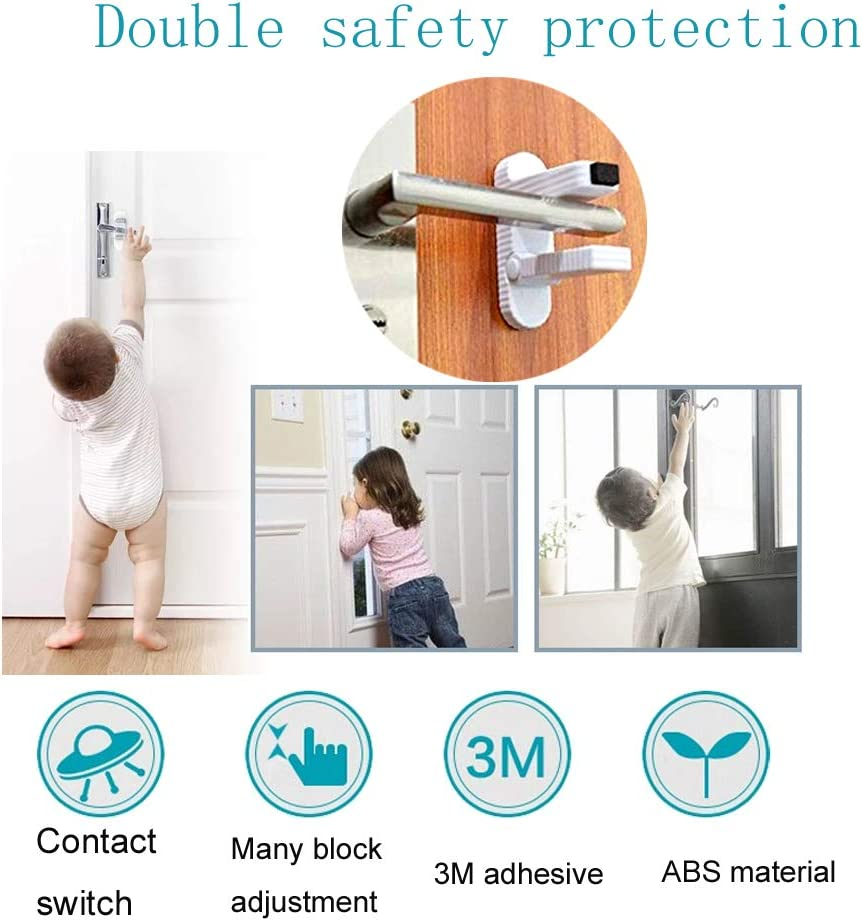 cabinet locks for babies/Safety Child Proof Door knob covers, No Drilling & 3M Adhesive Baby Safety Door Locks - 4 pieces