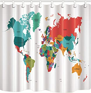 ChuaMi World Map Shower Curtain, Colourful Geography Plate and Global Country Name, Bathroom Decor Polyester Fabric 69 x 70 Inches with 12 Hooks
