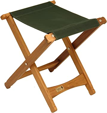 BYER OF MAINE, Pangean, Folding Stool, Green, Hardwood, Easy to Fold and Carry, Wood Folding Stool, Canvas Camp Stool, Perfec