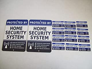 2 Home Security Alarm System Metal Yard Signs & 12 Window Stickers - Stock # 713