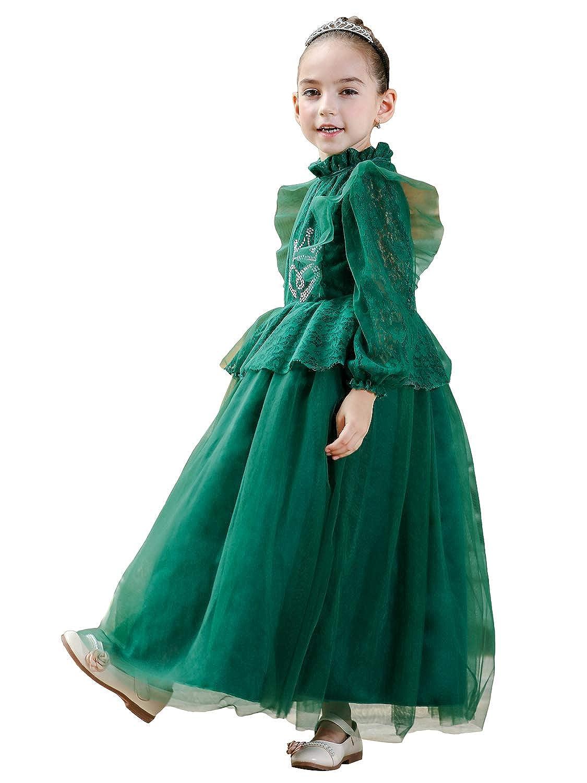 Zkaka 子供ドレス 女の子 レース 長袖 チュチュ 発表会 パーディー 演奏会 フォーマル 入園式 結婚式 お姫様ドレス ワンピース