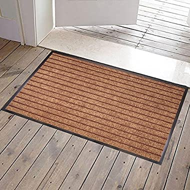 JINWEN JWGJW 3333-3 Large Outdoor Door Mats Rubber Front Entrance Outside Doormat 24 x 36  Patio Rug Dirt Debris Mud Trapper Waterproof Out Door Mat Profile Washable Carpet Several colors (Brown)
