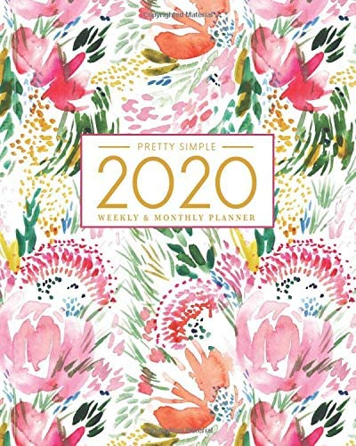 2020 Planner Weekly and Monthly January to December Watercolor Cover 2020 Pretty Simple Planners product image