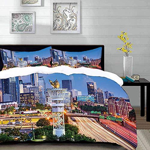 Bedding - Duvet Cover Set, Estados Unidos, Atlanta Georgia Urban Busy Town with Skyscrapers City Landscape, Black and White, Microfibre Duvet Cover Set con 2 Funda de Almohada 50 X 75cm