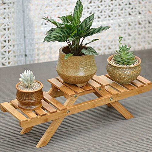 Bambus Pflanze Blumenregal, Massivholz für Bonsai und hängende Körbe, Blumenständer faltbar für...