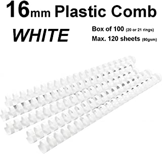 16mm Plastic Binding Combs WHITE - 20 or 21 ring (Box of 100)