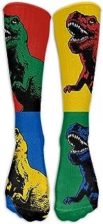 T Rex Dinosaurios Nylon Dibujos animados Moda Compresión Calcetines hasta la rodilla Elasticidad Voleibol para hombres Rodilla Medias largas y largas de tubo