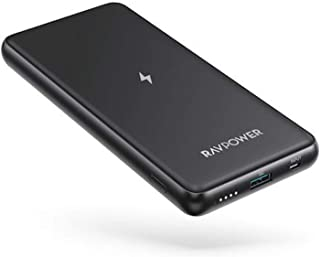 RAVPower RP-PB084 Wireless Portable Power Bank Charger, 10000 mAh - Black