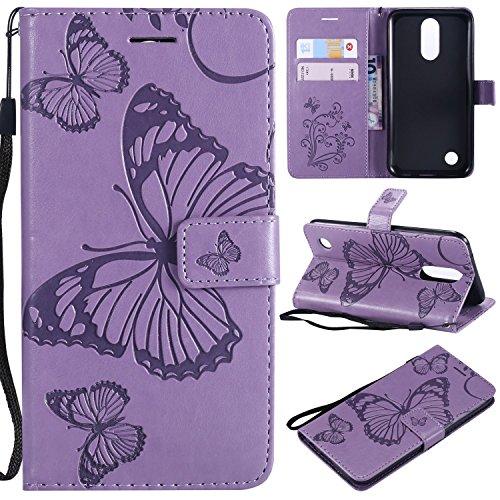 LG K20 Plus V Harmony Hülle, Wallet Folio Flip PU Leder Schmetterling Hülle Cover mit Kreditkartenfächern, Kickstand Handyhülle für Grace/LV5/K10 2017, Hellviolett