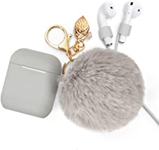 Airpods Case Keychain, BLUEWIND AirPod Charging Protective Case, Portable Carrying Earpods Case with Strap, Keychain, Soft Fluffy Ball, Compatible with Apple AirPods 1&2 Bluetooth Earphone(Gray)